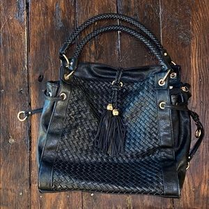 Melie blanco black stitch leather bag